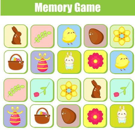 Juego de memoria para niños pequeños. Juego educativo para niños. Tema de Pascua. Encuentra pares de la misma imagen