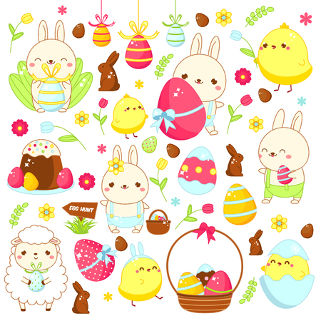 Easter stickers, icons. Cute bunny rabbit, lamb, chicken and other holiday symbols in kawaii style. Big collection of cartoon vector elements for spring Easter design