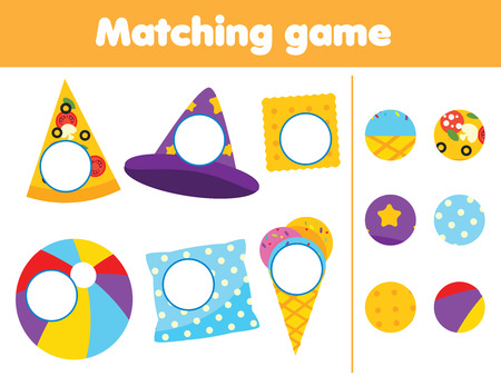 Matching children educational game. Find missing parts of objects. Activity for kids and toddlers