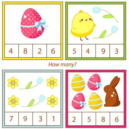 Counting educational children game, kids activity sheet. How many objects. Learning mathematics, numbers, addition. Easter theme.