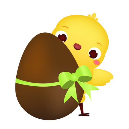 Easter chicken with chocolate egg. Cute cartoon chick. isolated vector. Easter clip art