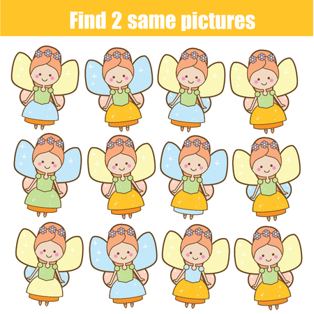 Children educational game. Find two same pictures. Cute fairy. Activity fun page for toddlers and babies