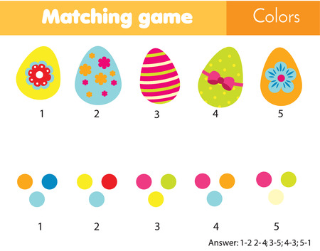 Matching children educational game. Match eggs by color. Easter theme activity for kids and toddlers