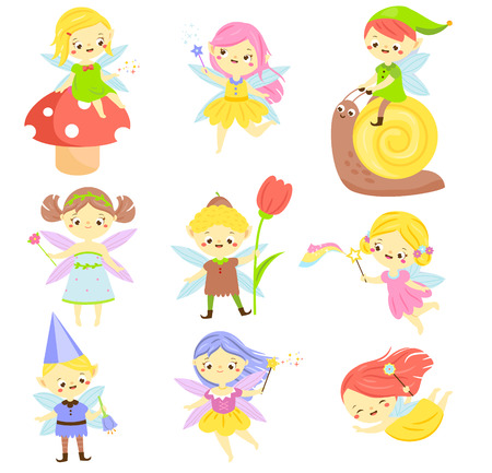 Cute fairy. Garden elf and pixie. Little people. Beautiful girls and bys in winged flying costumes. Vector Set of cartoon fantasy chartacters.