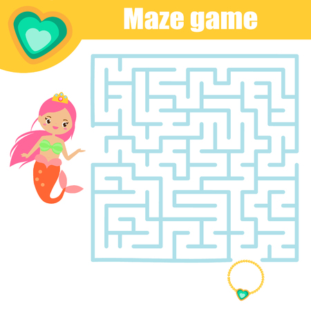 Maze game for children. Help mermaid find treasure. Fun page for toddlers and kids