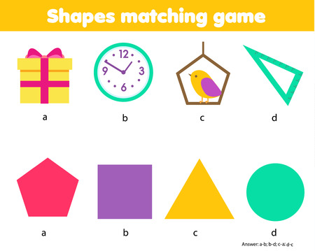 Educational children game. Matching game worksheet for kids. Match by shape. Learning geometric shapes with real life objects. Study forms and figures. triangle, circle, pentagon, square Imagens