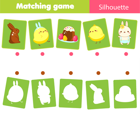 Matching game. Match Easter objects with silhouette. Educational kids activity. Spring theme fun page for toddlers. Imagens