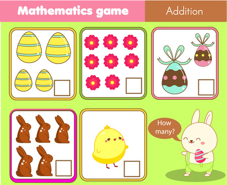 Counting educational children game. Mathematics activity for kids and toddlers. How many objects. Study math, numbers, addition. Easter activity for pre school