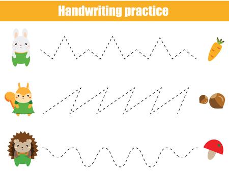 Übungsblatt für die Handschrift im Vorschulalter. Pädagogisches Spiel für Kinder. Druckbares Arbeitsblatt für Kinder und Kleinkinder. Gestrichelte Linien nachzeichnen Vektorgrafik