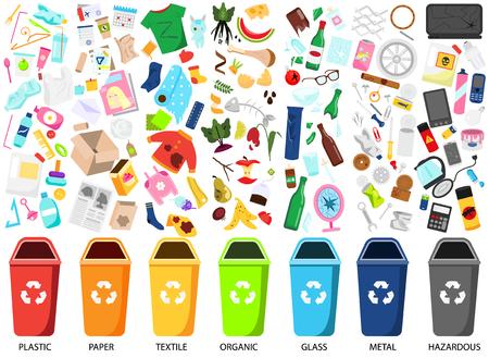 Clasificación de residuos. Gran colección de tipos de basura. Orgánico, papel, metal, peligroso, textil, vidrio, iconos de basura de plástico, contenedores Ilustración de vector