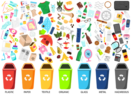 Waste sorting. Big collection of garbage types. Organic, paper, metal, hazardous, textile, glass, plastic trash icons, bins