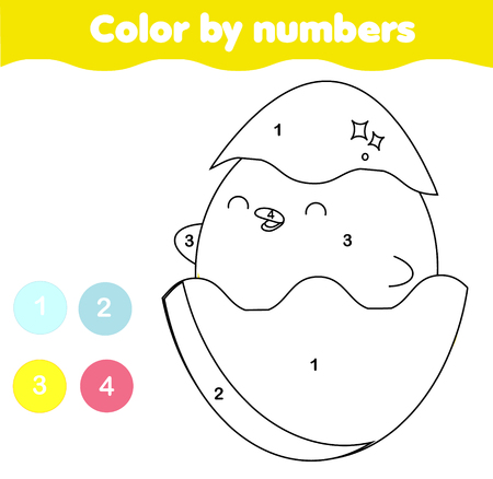 Coloring page. Color by numbers picture for toddlers and kids. Educational children game. Cartoon little chicken in egg. Easter theme fun page