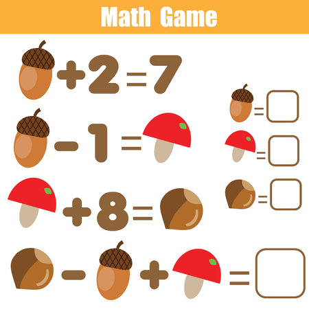 Counting educational children game. Mathematics activity for kids and toddlers. Solve equation. Study math, addition, subtraction