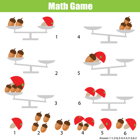 Counting educational children game. Mathematics activity for kids and toddlers. Balance the scale. Learning equations and weights.