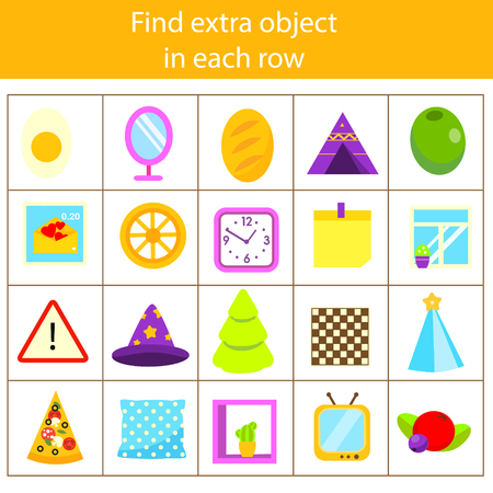 Educational children game. Logic game. What does not fit type. Find odd one, extra object fun page for kids and toddlers. Learning gepmetric shapes 向量圖像