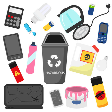 Waste sorting. Household hazardous garbage. e-waste, pesticides, oil and other toxic trash icons