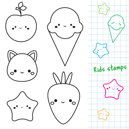 Cute characters outline icons. ice cream, cat, star. Stamps for kids and children.