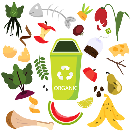 Clasificación de residuos. Basura orgánica. Alimentos, naturales, huesos y otros iconos de basura.