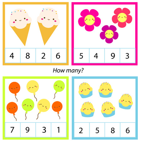 Counting educational children game. Mathematics activity for kids and toddlers. How many objects. Study math, numbers, addition.