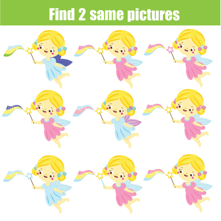 Find the same pictures. Find two identical fairy. Children educational game. fun for kids and toddlers