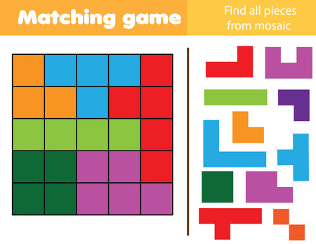 Matching children educational game. Match parts of polyomino picture. Logic test. Activity for kids and toddlers with geometric shapes.