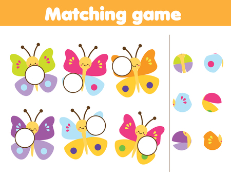 Matching children educational game. Match parts of cute buuterflies. Insects theme fun for kids and toddlers.