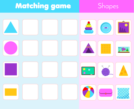 Matching children educational game. Match objects with shapes. Learning forms activity for kids and toddlers. Stock Photo