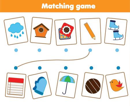 Jeu éducatif pour enfants assortis. Faites correspondre les pièces des objets. Activité de test de logique pour les enfants et les tout-petits.