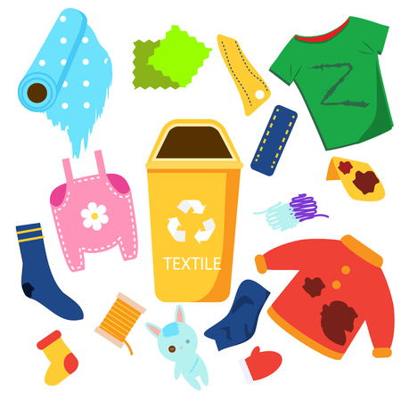 Waste sorting. Textile garbage. Clothes, toys, fabric and other trash icons.