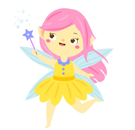 Cute fairy flapping magic wand. Cartoon flying princess, pixie, elf character. Vector illustration Ilustracja