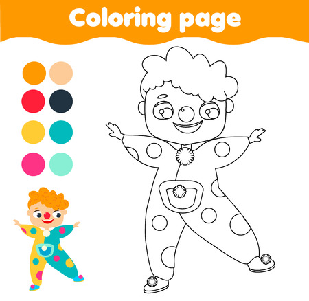 Coloring page. Color picture for toddlers and kids. Educational children game. Boy in clown costume