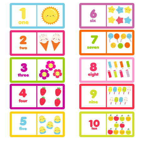 Count from one to ten. Educational card for children. learning material with funny characters and numbers for kids, toddlers