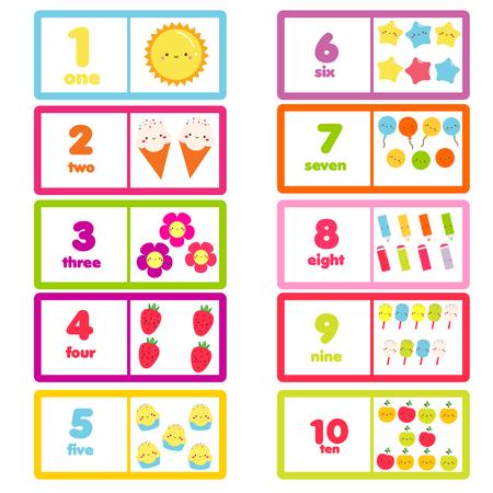 Zähle von eins bis zehn. Bildungskarte für Kinder. Lernmaterial mit lustigen Figuren und Zahlen für Kinder, Kleinkinder