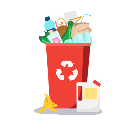 Trash bin. Garbage can with different waste inside. Plastic, paper, glass and other household rubbish. Vector illustration Illustration