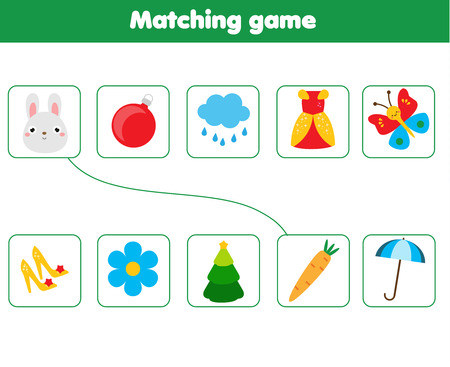 Matching children educational game. Match objects parts. Logic test activity for kids and toddlers. Ilustração
