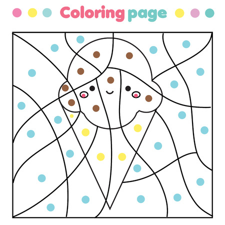 Children educational game. Color by dots, printable activity. Worksheet for toddlers and pre school age. cute ice cream