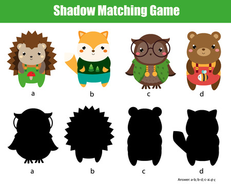 Shadow matching game. Find silhouette for cute animals. activity for toddlers and pre school age kids.
