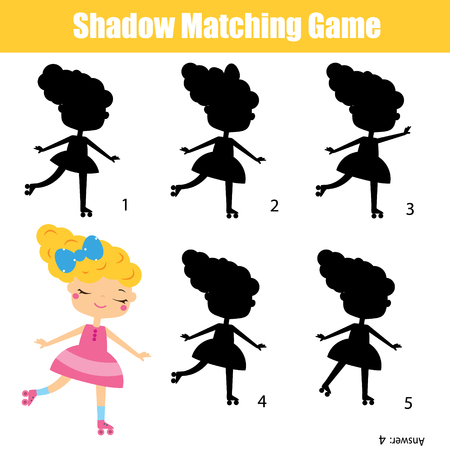 Shadow matching game. Find silhouette for roller girl. activity for toddlers and pre school age kids.