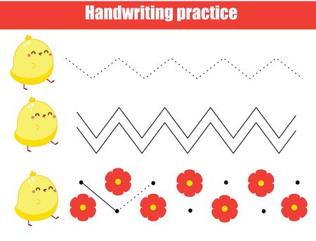 Übungsblatt für die Handschrift im Vorschulalter. Pädagogisches Spiel für Kinder. Druckbares Arbeitsblatt für Kinder und Kleinkinder. Zick-Zack zeichnen