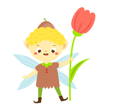 Cute garden elf boy with tulip flower. Little pixie. Fantasy character