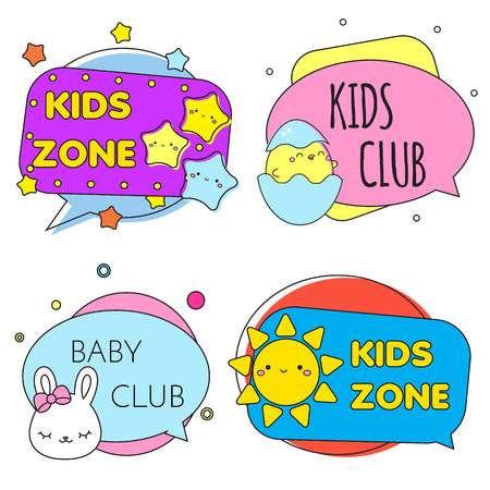 Kids zone banners. Colorful labels with children toys and cute symbols. Design template for baby and toddler design.