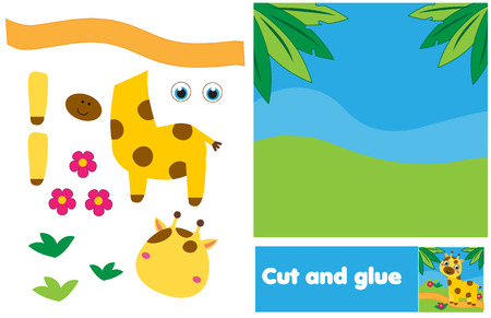 Cut and paste children educational game. Paper cutting activity. Make african scene with giraffe with glue and scissors. DIY worksheet. Stock Vector - 122859398