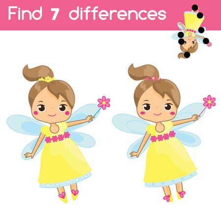 Find the differences. Educational children game. Activity for pre school years kids. Cute flying fairy with magic wand