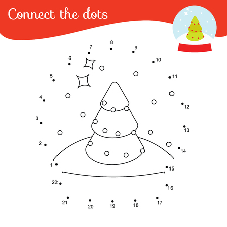 Connect the dots. Dot to dot by numbers activity for kids and toddlers. Christmas theme children educational game. New year snowball