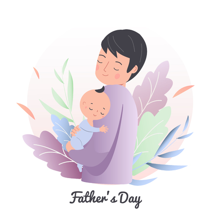 Father hold little sleeping child. Dad with baby. Man nurse toddler. happy fathers day concept illustration. Parenting character vector clip art