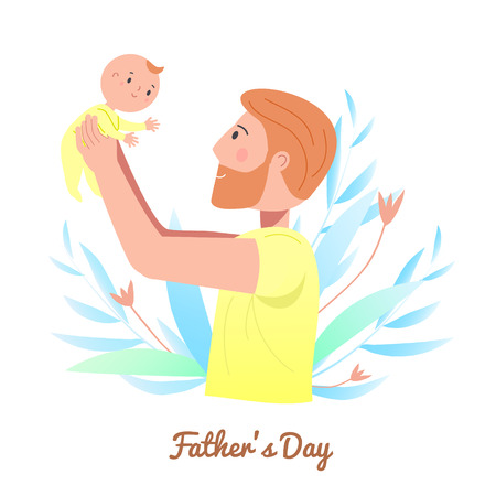 Father hold little sleeping child. Dad play with baby. Man nurse toddler. Fathers day concept illustration. Parenting character vector clip art