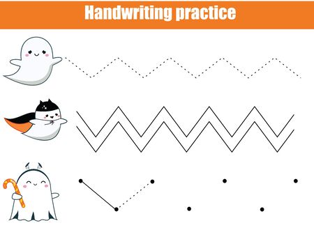 Halloween game. Handwriting practice sheet. early education worksheet for kids and toddlers. Printable Children activity