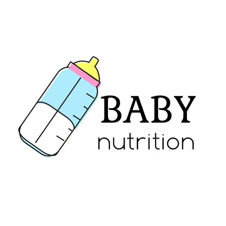 Baby nutrition template. Nurse bottle. Sign, label for children and kids shops and other design Vecteurs