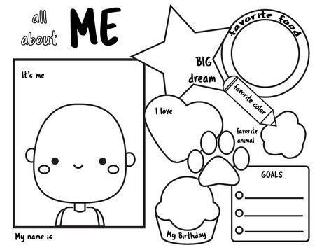 Tutto su di me. Richiesta di scrittura per bambini vuota. Pagina educativa per bambini. Foglio stampabile per insegnanti di classe