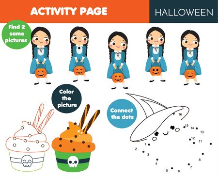 Halloween activity page for kids. Educational children game set. Coloring page, connect find same. printable fun for toddlers and pre school age